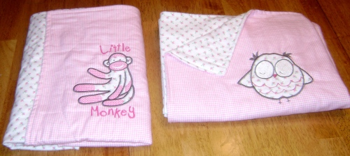 "Baby blankets ""little monkey and sleepy owl"""